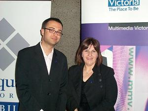 Luke Howard, Victorian State Award winner and Victorian Minister for ICT, Marsha Thomson